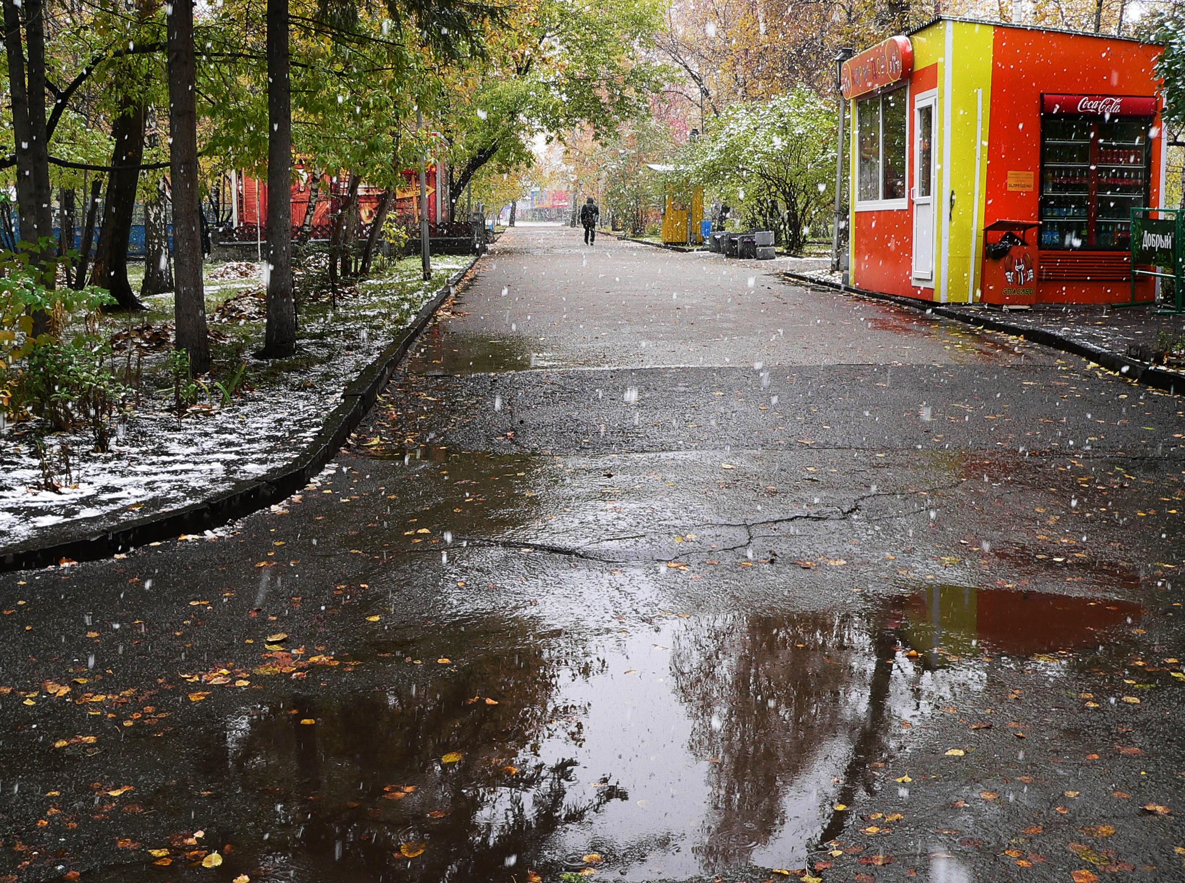 Съемка-снегопада-осенью-в-парке